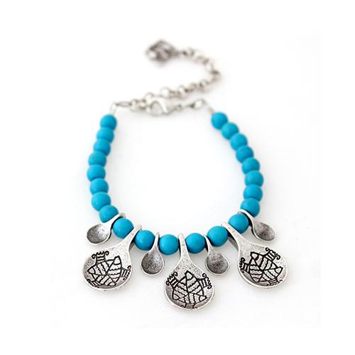 Armband Akva Bleu een uniek sieraad met blauwe kralen. In combinatie met de ketting heeft u een uniek setje sieraden | sieradencorner.nl nl/shop/armbanden/uniek-sieraad-armband-akva-bleu| sieradencorner.nl/