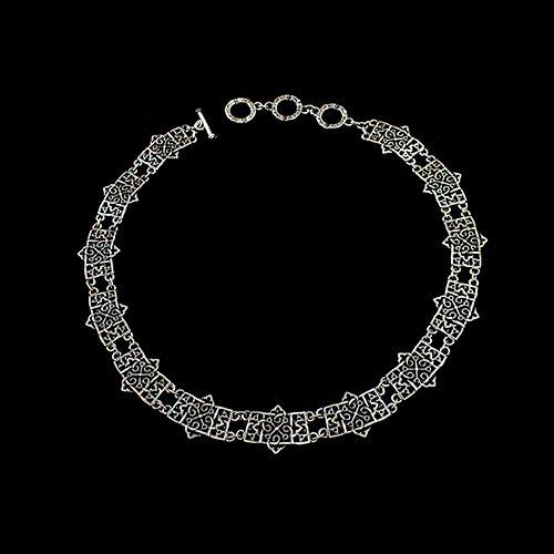 Zilverkleurige nikkelvrije ketting Avgustina een uniek sieraad. Prijs € 15,00. Exclusieve sieraden van uit de gehele wereld binnen handbereik bij sieradencorner.nl