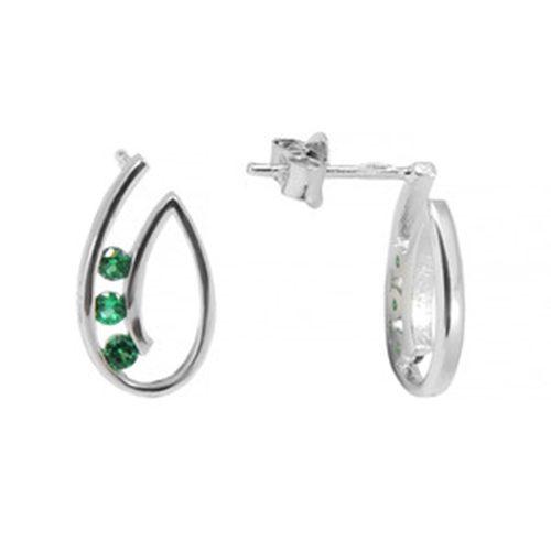 Sterling zilveren oorbellen tear-drop met zirkonia steentjes. Lengte 1.2 cm. Prijs € 17.00   sieradencorner.nl