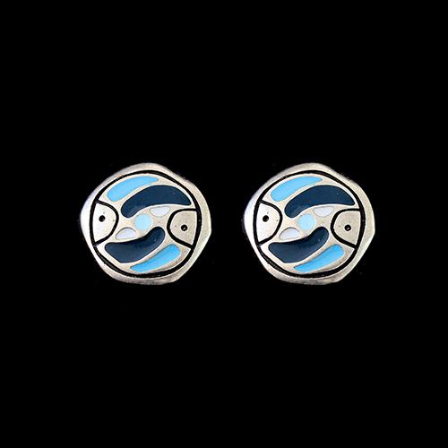 Zilverkleurig nikkelvrije oorbellen Stepovik-blue. Kleuren blauw, wit en zilver. Prijs € 10,00 Sieradencorner biedt de sieraden aan tegen een betaalbare prijs.