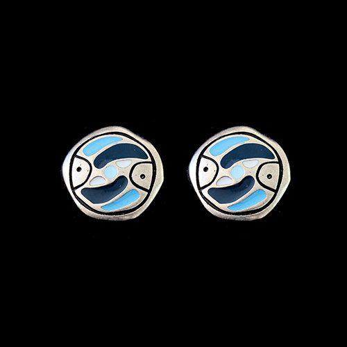 Zilverkleurig oorbellen Stepovik-blue-c met een uniek motief. Kleuren blauw, wit en zilver. Lengte 2.1 cm. Prijs € 7.00