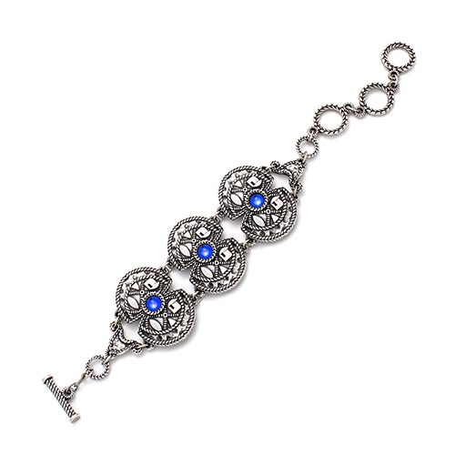 Silver-plated nickel-free bracelet Ana. Stylish bracelet with blue inlaid beads. At sieradencorner you will find affordable exclusive jewelry. Price € 15,00