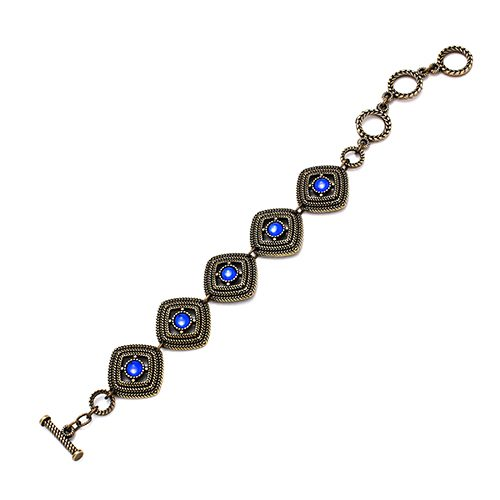 Bracelet-aksios-bronze. This jewel for your wrist has a classic look and has a blue inlaid bead per link, Price € 15,00