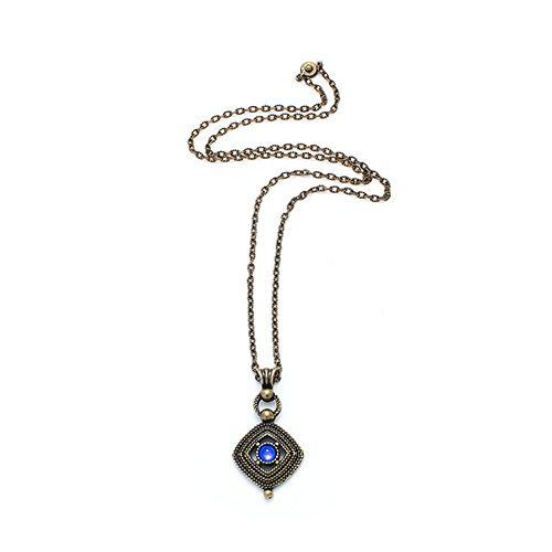 Brons vergulde ketting Aksios bronze henger heeft een blauwe kraal Prijs € 12,00 Op sieradencorner vind je betaalbare exclusieve sieraden