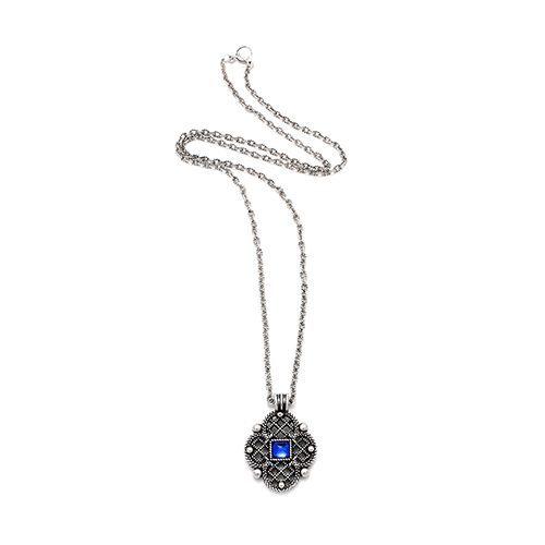 Verzilverde nikkelvrije ketting Rosa hanger heeft een ingelegde blauwe kraal Prijs € 13,00 Op sieradencorner vind je betaalbare exclusieve sieraden