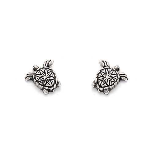Silver plated nickel free earrings Cherapashka. Modern ornament for your ears in the shape of a turtle. Price € 6,00.